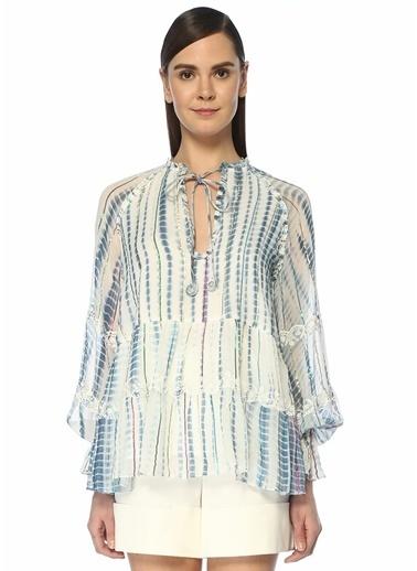 Hemant&Nandita Hemant&Nandita Esme  Yakası Bağlamalı Renkli Şeritli Bluz 101501740 Mavi